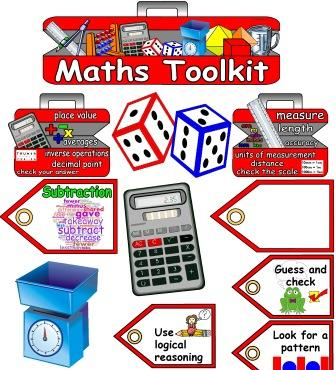 Free Printable Maths Toolkit Display, includes maths tools, labels, place value, length, weight, capacity, fractions and ratio key words toolboxes and editable labels.