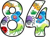 Free printable Mini Beasts, Cartoon Insects background classroom display lettering sets.