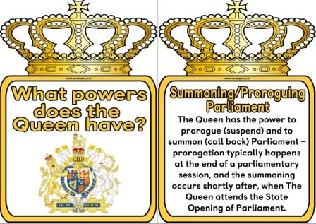 Free printable set of posters showing the powers the Queen has in the UK.  Includes 14 powers the British monarch holds plus a title page and crown border blank page.