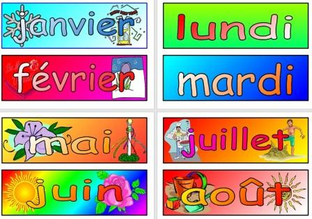 Free French Vocabulary Cards Months and Days of the Week