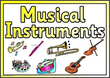 Soft image within printable pictures of musical instruments