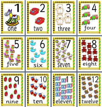 Free Printable Numbers to 20 illustrated posters with toys.  Numbers in digits and words.
