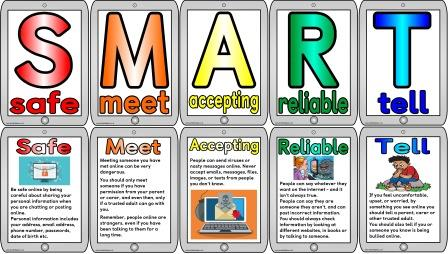 Free printable 'Be SMART Online' internet safety posters and banner.