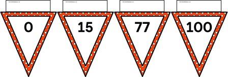 Free printable orange polka dot bunting number line to 100