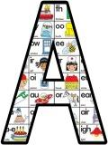 Free Printable Phonics background display lettering sets.