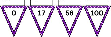 Free printable purple polka dot bunting number line to 100