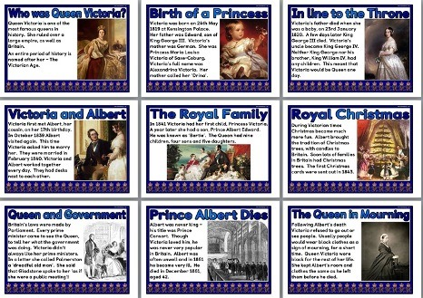Set of 17 printable posters all about Queen Victoria, great for Victorians classroom displays