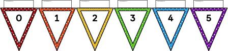 Free printable rainbow polka dot bunting number line to 100