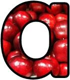 Free red apples digital letters, classroom display bulletin board lettering sets.