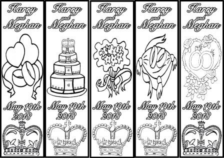 Free printable colour in bookmarks for Prince Harry and Meghan Markle Royal Wedding 2018