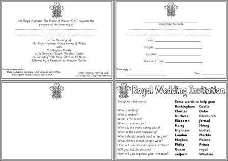 rintable Royal Wedding Invitations for children to create their own version.  Includes a copy of the original invitation, invitation for children to fill in the details, blank version for children to design and write their own invitation, and a help sheet.