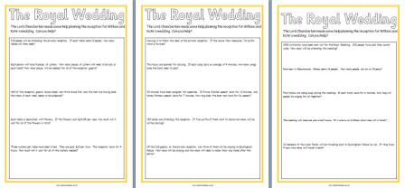 Royal Wedding Maths Worksheets Problem Solving