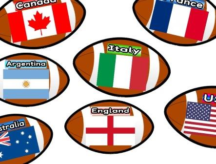 Rugby Balls showing the flag and name of each of the 20 countries taking part in the 2015 Rugby World Cup.