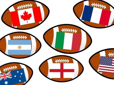 Rugby Balls showing the flag  of each of the 20 countries taking part in the 2015 Rugby World Cup.