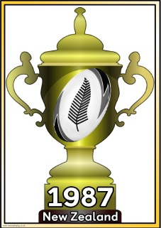 Rugby World Cup Winners.  Trophies showing the World Cup winners for each year since the games began in 1987.