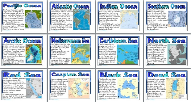 geography ks2 resources seas and oceans of the world classroom display posters. Black Bedroom Furniture Sets. Home Design Ideas