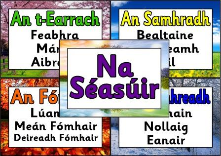 Free printable 'The Seasons' and their months, from the Irish Calendar.  Irish/Gaeilge version.