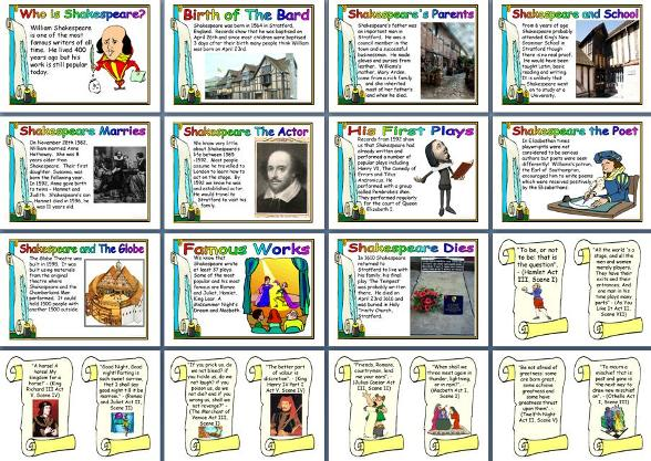 Free printable Shakespeare biography for children.  Free English teaching resource.