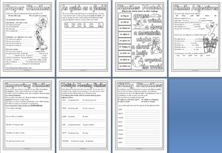 Free Printable Simile Worksheets Teaching Resource