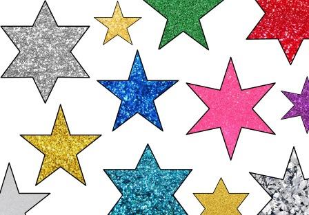 Free printable bulletin display board accents.  Glitter stars.  Can change the size of the stars or print as they are.  Huge choice of colours, also available in metallic and plain colour backgrounds.