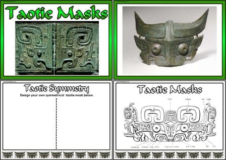 Free printable Shang Dynasty / Zhou Dynasty Taotie masks posters, symmetry and colouring teaching resource pack.