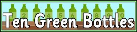 Free printable Ten Green Bottles Banner for classroom display
