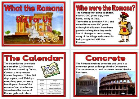 Free Printable 'What the Romans Did for Us' set of posters for classroom display.  Includes Aqueducts, Concrete, Calendar, Laws, Language, Central Heating, Straight Roads and Census.