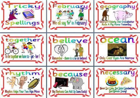 Literacy Display - Tricky Spellings - Mnemonics Display Posters