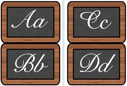 Free printable Victorian alphabet on slate boards.  Download and print to create a Victorian Alphabet display or border.