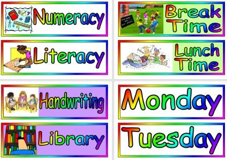 Free printable visual timetable cards for classroom display