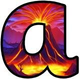 Free printable digital lettering sets for classroom display.  Volcano eruption background school display letters.