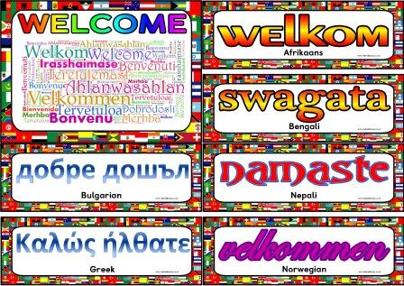 Free printable Welcome in over 40 different languages display posters for classroom bulletin board display.