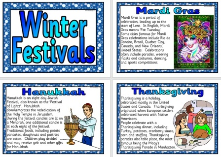 Free Printable Winter Festivals Posters for Classroom Display