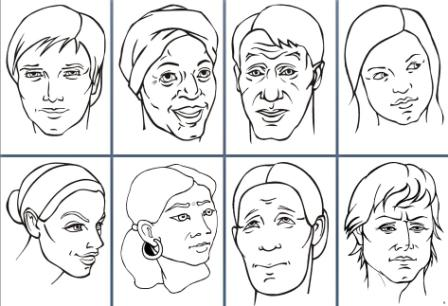 Faces of the World colouring pages
