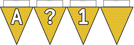 Free printable Yellow Polka Dot Bunting, A-Z, ?!&, numbers 0-9 and a blank flag all in one file.  Click image to download.